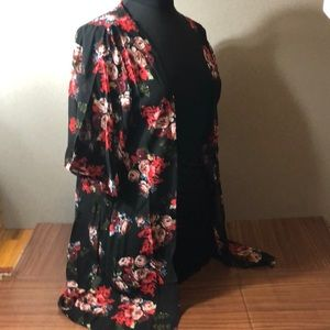 Sweaters - Semi Sheer Black Red Roses Kimono Open Cardigan